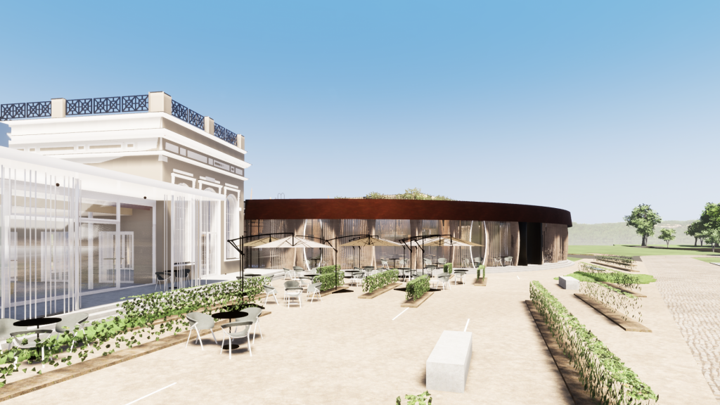 Areál vinařství Dog in Dock | Vizuál budovy restaurace Dog in Dock s venkovním posezním